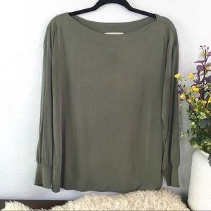 LOFT boat neck olive green lightweight knit top